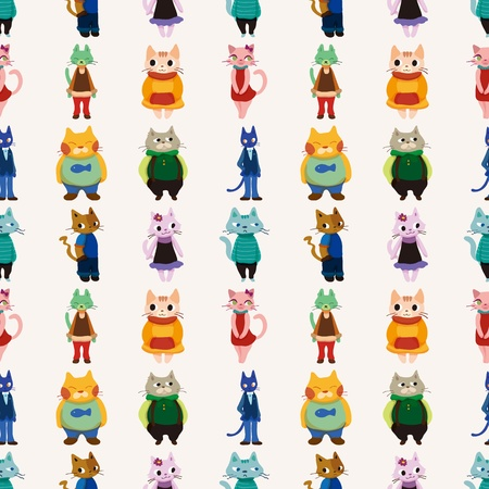 sweet cat family seamless pattern,cartoon vector illustration Stock Vector - 17212431