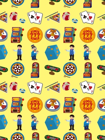 seamless casino pattern,cartoon vector illustration Vector