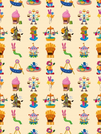 seamless playground pattern,cartoon vector illustration Vector