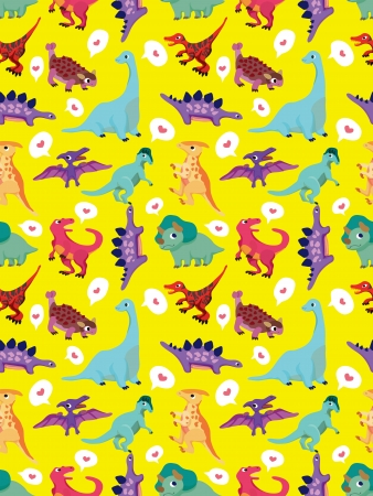 seamless dinosaur pattern,cartoon vector illustration Vector