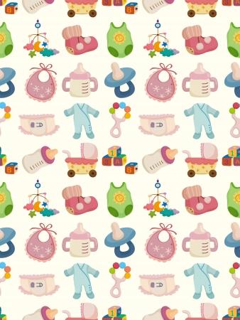 pezones: juguete del bebé sin costuras patrón, ilustración de dibujos animados Vectores