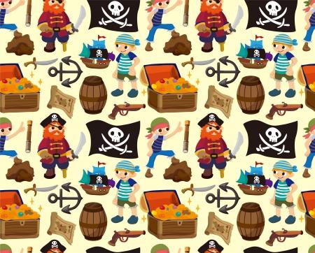 steuerruder: nahtlose Piraten Muster, Karikaturillustration