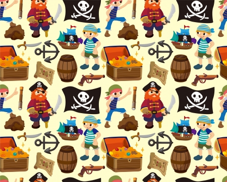 seamless pirate pattern,cartoon illustration Vector