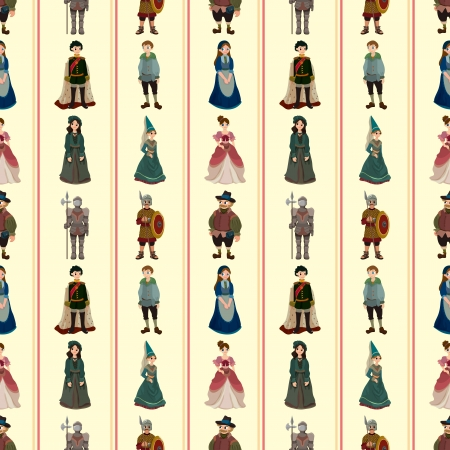 medieval woman: seamless Medieval people pattern,cartoon illustration Illustration
