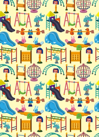 seamless park playground pattern,cartoon illustration Vector