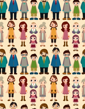 seamless family pattern,cartoon illustration Vector