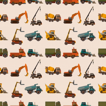 excavator: seamless truck pattern,cartoon illustration Illustration