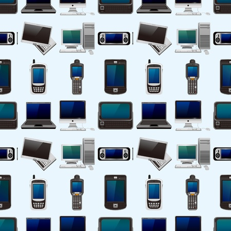 computer and phone set seamless pattern,cartoon illustration Stock Vector - 17432912