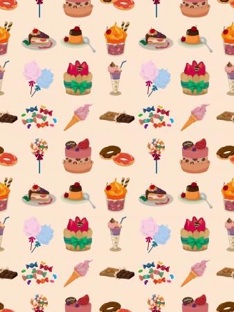 algodon de azucar: patrón caramelos sin fisuras, ilustración de dibujos animados Vectores