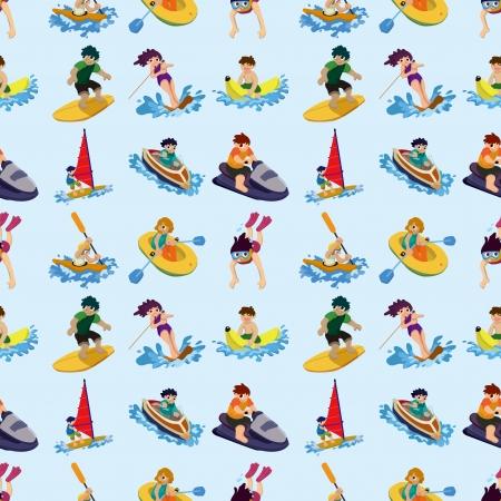 seamless water sport pattern,cartoon illustration Vector