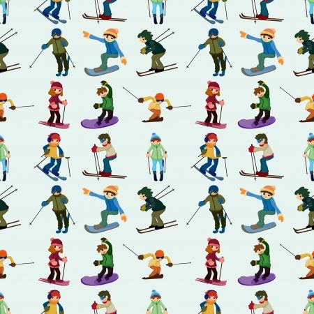 스키 타는 사람: 원활한 스키 패턴, 만화 그림 일러스트
