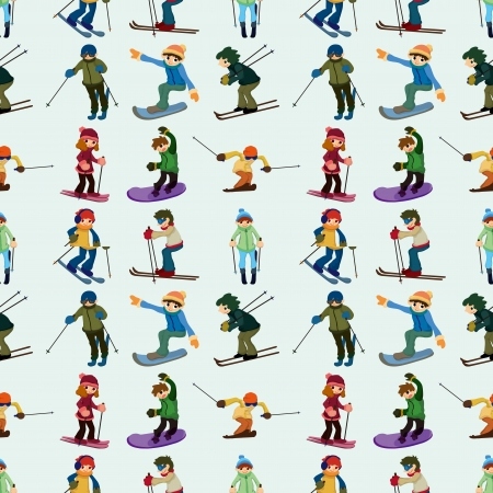 snowboarder jumping: seamless ski pattern,cartoon illustration