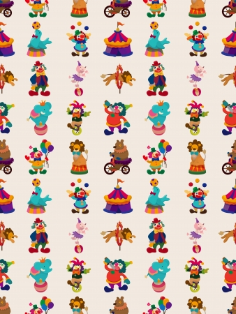 seamless circus pattern,cartoon illustration Vector