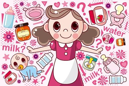 pezones: madre y el bebé, ilustración de dibujos animados