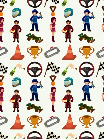 seamless auto racing pattern,cartoon illustration Vector