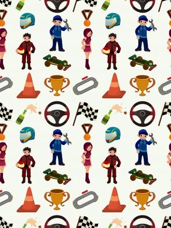 seamless auto racing pattern,cartoon illustration