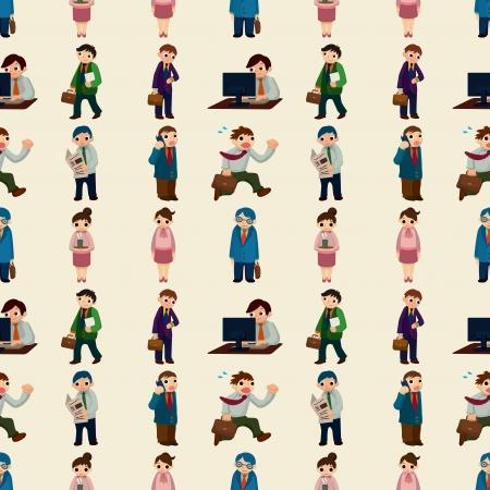 seamless office worker pattern,cartoon illustration Illustration
