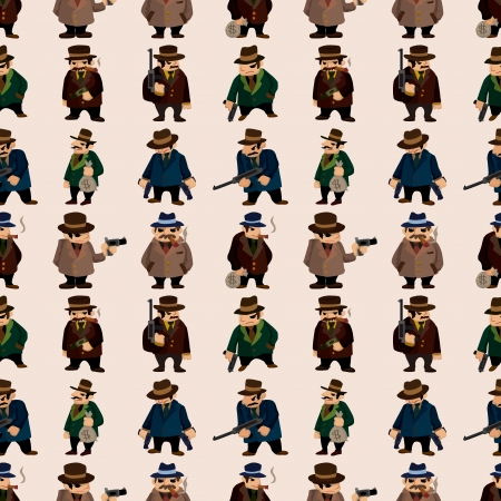 seamless mafia pattern,cartoon illustration Vector