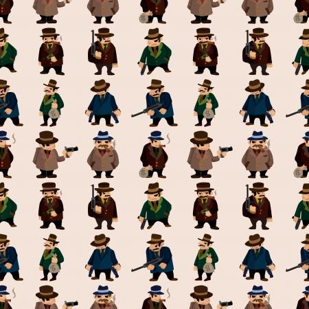 organized crime: seamless mafia pattern,cartoon illustration