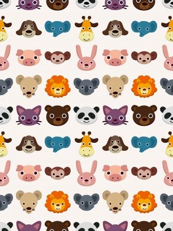 Naadloze dier gezicht patroon, beeldverhaalillustratie Stockfoto - 17560154