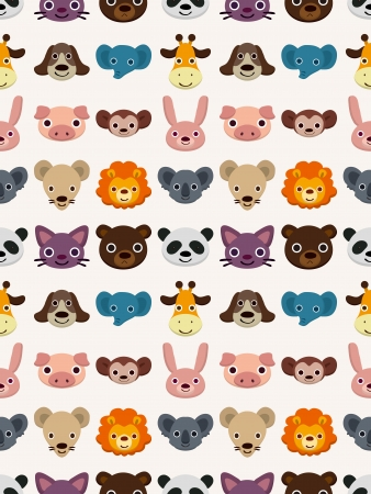 seamless animal face pattern,cartoon illustration Vector