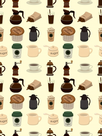 seamless coffee pattern,cartoon illustration