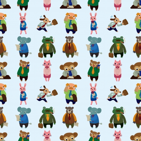 seamless animal office worker pattern,cartoon illustration Stock Vector - 17560163