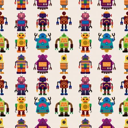 seamless Robot pattern,cartoon illustration Vector