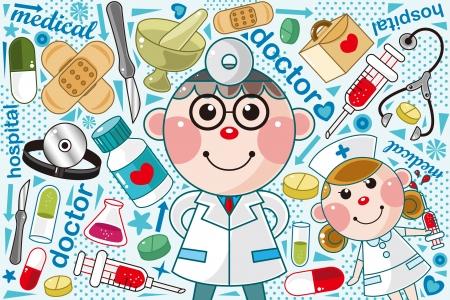 hilfsmittel: Doktor medizinischer Muster Illustration