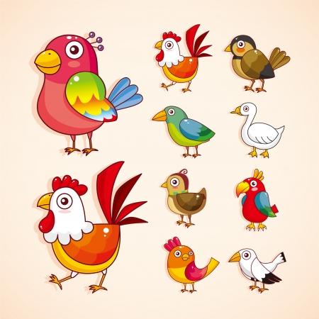 veréb: rajzfilm madár icon set Illusztráció