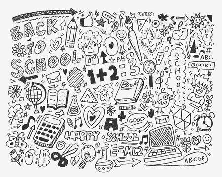 math set: hand draw school element,cartoon vector illustration