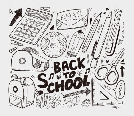 mechanical back: School - doodles collection