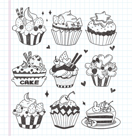 doodle cupcake set Vector
