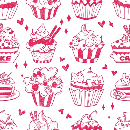 cupcake illustration: seamless doodle cake pattern Illustration
