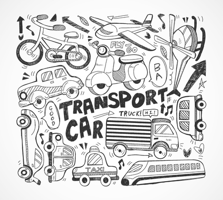 doodle transport element Vector