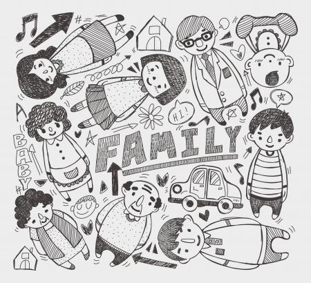 doodle family element Vector
