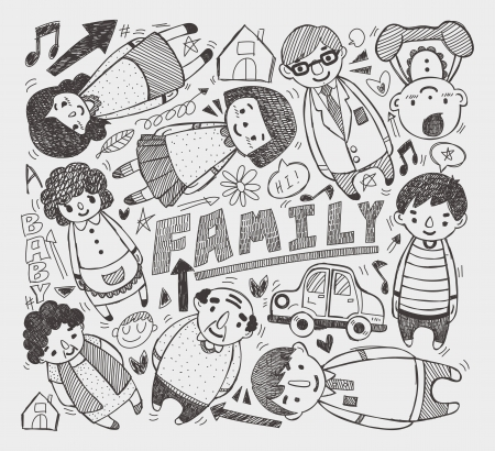 brother and sister cartoon: doodle family element