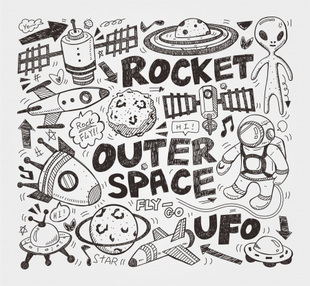 doodle space element Vector
