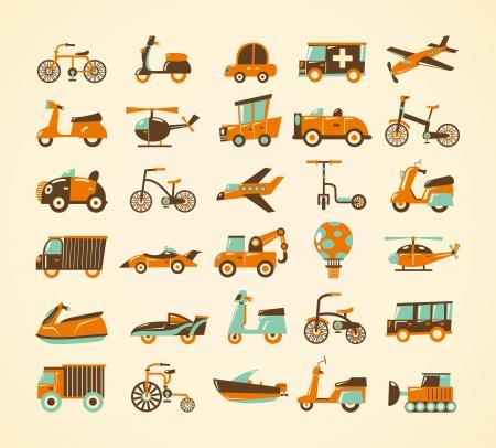 camion caricatura: iconos retro transporte establecido