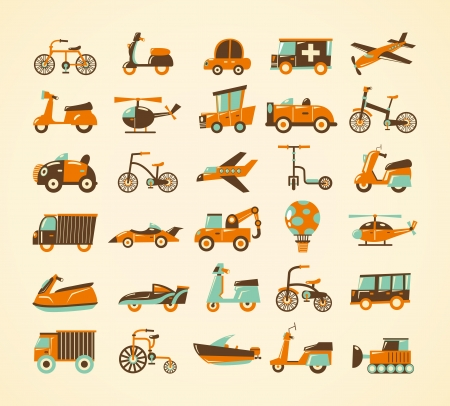 airplane cartoon: retro transport icons set Illustration