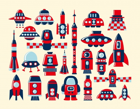 cartoon rocket: retro rocket icons set element