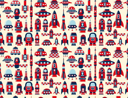 retro seamless rocket pattern Vector