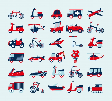 retro transport icons set Vector