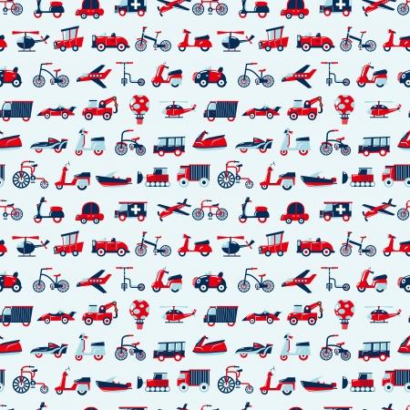 seamless retro transport pattern Illustration