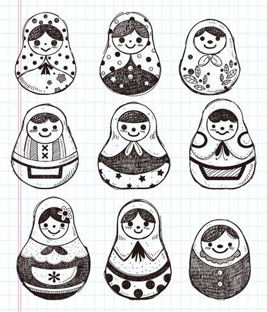 doodle Russian Doll element icon set Vector