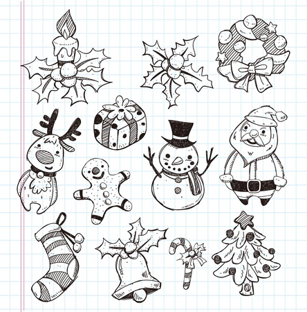 doodle xmas element icon set Vector