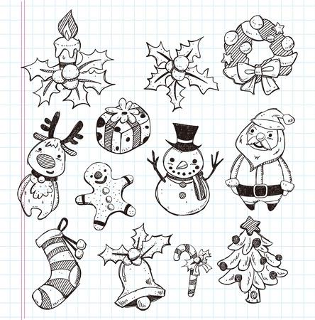 doodle xmas element icon set Stock Vector - 18373277