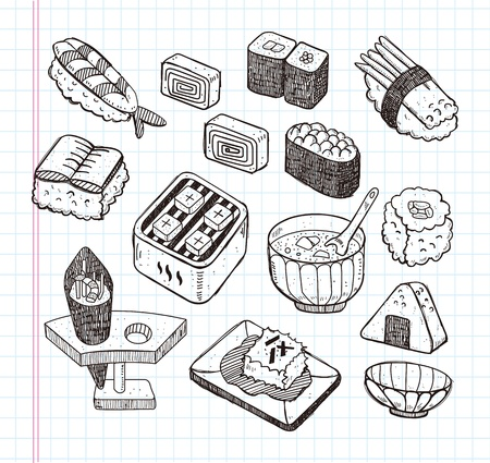 doodle Japanese food icon set Vector