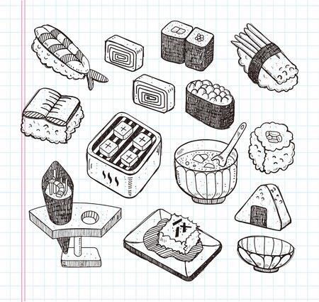 rice plate: doodle Japanese food icon set Illustration