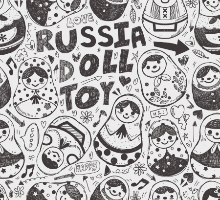 russian doll: seamless doodle Russian Doll pattern